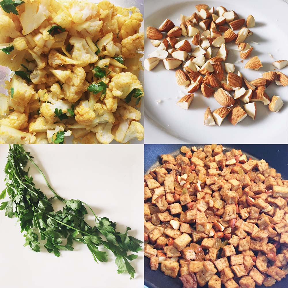Pomegranate Chicken With Almond Couscous Recipe: Couscous, Cauliflower & Tofu